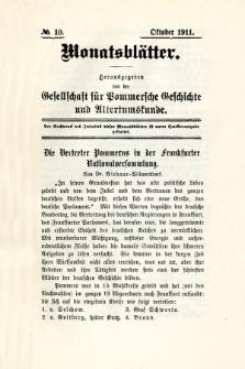 Monatsblätter Jhrg. 25, H. 10 (1911)