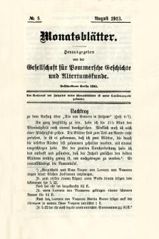 Monatsblätter Jhrg. 27, H. 8 (1913)