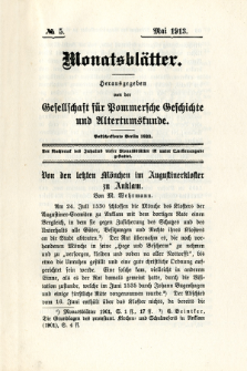 Monatsblätter Jhrg. 27, H. 5 (1913)