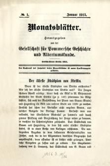 Monatsblätter Jhrg. 27, H. 1 (1913)