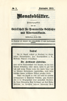 Monatsblätter Jhrg. 27, H. 9 (1913)