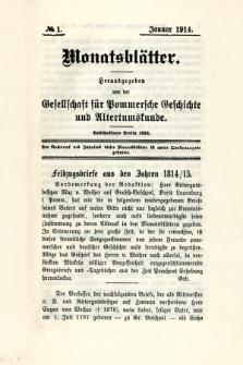 Monatsblätter Jhrg. 28, H. 1 (1914)