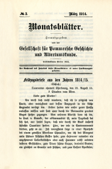 Monatsblätter Jhrg. 28, H. 3 (1914)