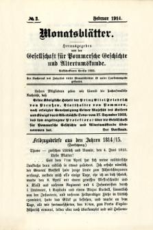 Monatsblätter Jhrg. 28, H. 2 (1914)