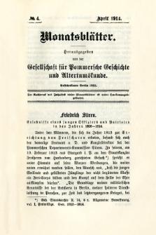 Monatsblätter Jhrg. 28, H. 4 (1914)