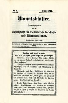 Monatsblätter Jhrg. 28, H. 6 (1914)