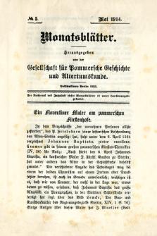 Monatsblätter Jhrg. 28, H. 5 (1914)