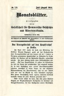 Monatsblätter Jhrg. 28, H. 7/8 (1914)
