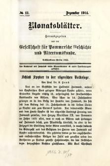 Monatsblätter Jhrg. 28, H. 12 (1914)