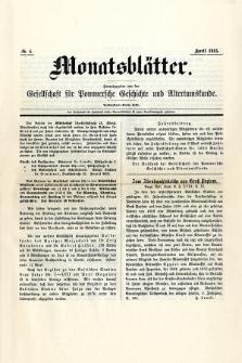 Monatsblätter Jhrg. 29, H. 4 (1915)