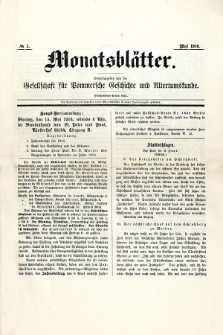 Monatsblätter Jhrg. 30, H. 5 (1916)