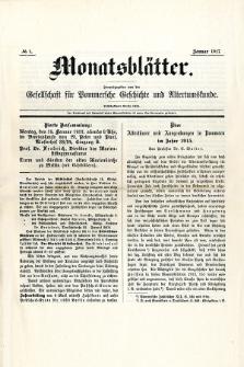Monatsblätter Jhrg. 31, H. 1 (1917)
