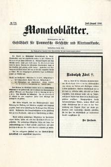 Monatsblätter Jhrg. 30, H. 7/8 (1916)