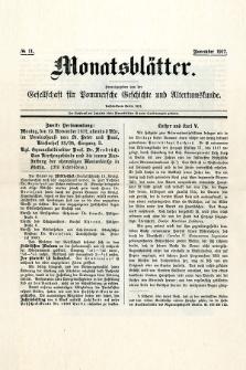 Monatsblätter Jhrg. 31, H. 11 (1917)