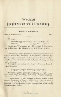 Sprawozdania z Posiedzeń Towarzystwa Naukowego Warszawskiego, Wydział I, Językoznawstwa i literatury. Rocznik 1 (1908)