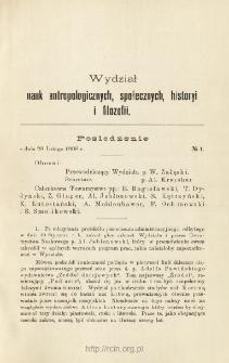 Sprawozdania z Posiedzeń Towarzystwa Naukowego Warszawskiego, Wydział II, Nauk antropologicznych, społecznych, historyi i filozofii. Rok 1 (1908)