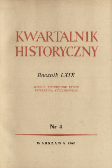 Kwartalnik Historyczny R. 69 nr 4 (1962), Title pages, Contents
