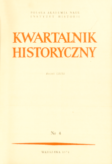 Kwartalnik Historyczny R. 81 nr 4 (1974), Title pages, Contents