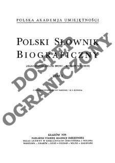 Polski słownik biograficzny T. 1 (1935), Abakanowicz Abdank Bruno - Beynart Wojciech, Część wstępna