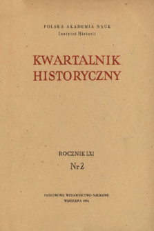 Kwartalnik Historyczny R. 61 nr 2 (1954), Title pages, Contents