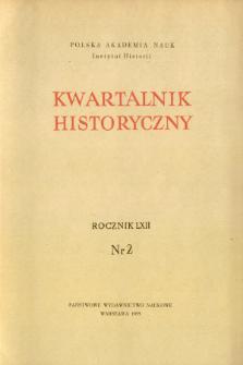 Kwartalnik Historyczny. R. 62 nr 2 (1962), Strony tytułowe, Spis treści