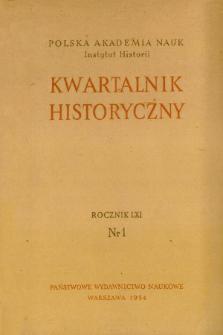 Kwartalnik Historyczny R. 61 nr 1 (1954), Polemika