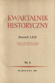 Kwartalnik Historyczny R. 69 nr 4 (1962), Listy do redakcji