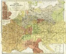 Karte der Eisenbahnen Mittel Europa's : Mit Angabe sämtlicher Bahnstationen Hauptpost -u. Dampfschiff-Verbindungen