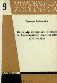 Materiały do historii zoologii na Uniwersytecie Jagiellońskim (1777-1914)