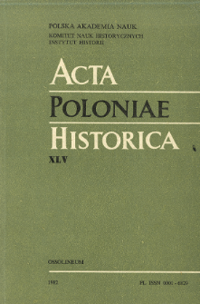 Acta Poloniae Historica. T. 45 (1982), Title pages, Contents