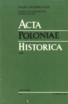 Acta Poloniae Historica. T. 53 (1986), Title pages, Contents