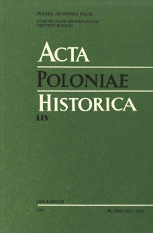 Acta Poloniae Historica. T. 54 (1986), Title pages, Contents