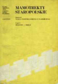 Mamotrekty staropolskie. Cz. 1, Prologus-Tobiae