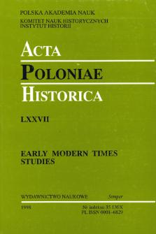 Acta Poloniae Historica. T. 77 (1998), News