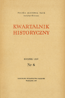 Kwartalnik Historyczny R. 64 nr 6 (1957), Title pages, Contents