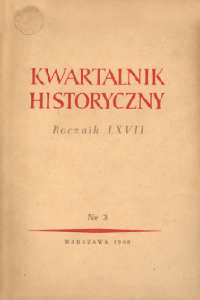 Kwartalnik Historyczny R. 67 nr 3 (1960), Title pages, Contents