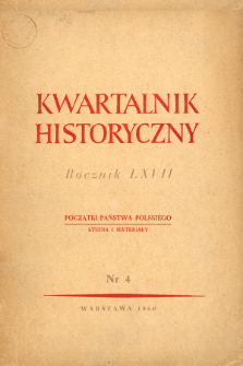 Kwartalnik Historyczny R. 67 nr 4 (1960), Title pages, Contents