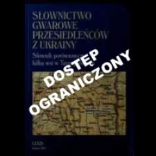 Słownictwo gwarowe przesiedleńców z Ukrainy : słownik porównawczy kilku wsi w Tarnopolskiem