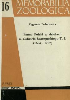 Fauna Polski w dziełach o. Gabriela Rzączyńskiego T. J. (1664-1737)