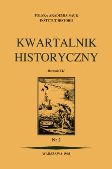 Kwartalnik Historyczny R. 102 nr 2 (1995), Strony tytułowe, Spis treści