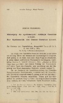 Materjały do systematyki rodzaju Carabus Linné