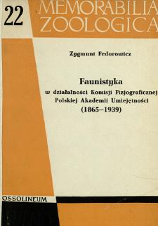 Faunistyka w działalności Komisji Fizjograficznej Polskiej Akademii Umiejętności : (1865-1939)