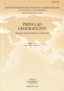 Przegląd Geograficzny T. 84 z. 4 (2012), Spis treści