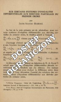 Sur certains systèmes d'inégalités différentielles aux dérivées partielles du premier ordre