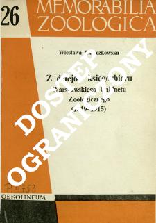 Z dziejów księgozbioru Warszawskiego Gabinetu Zoologicznego (1819-1915)