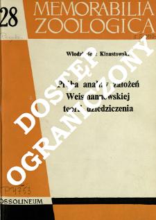 Próba analizy założeń weismannowskiej teorii dziedziczenia