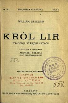 Król Lir : tragedja w pięciu aktach