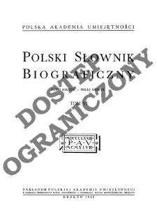 Polski słownik biograficzny T. 6 (1948), Dunin Rodryg - Firlej Henryk, Część wstępna