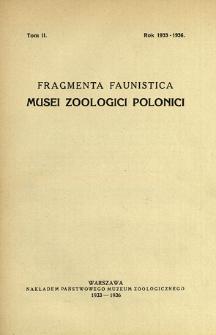 Fragmenta Faunistica Musei Zoologici Polonici ; t. 2 - Spis treści