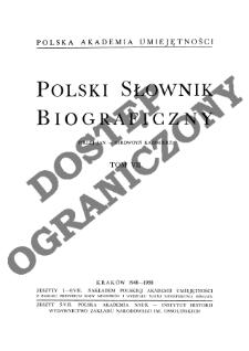 Polski słownik biograficzny T. 7 (1948-1958), Firlej Jan - Girdwoyń Kazimierz, Część wstępna